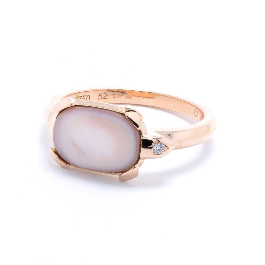 Cartier Tortue Mother of Pearl & Diamond Ring Rings Cartier