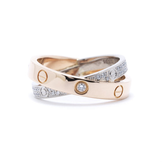 Cartier Two-Tone Interlocking Love Ring with Diamonds Rings Cartier