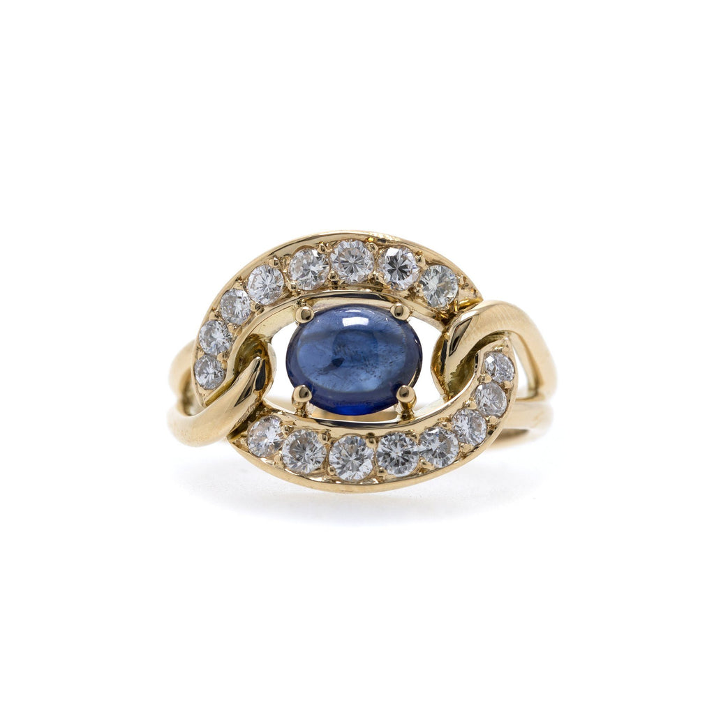 Cartier Vintage Cabochon Sapphire & Diamond Ring Rings Tiffany & Co.