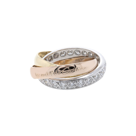 Cartier Vintage Diamond Trinity Rolling Ring Rings Cartier