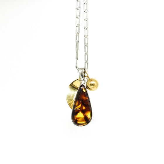 Celine Amber Drop Pendant Necklace in Brass Necklaces Celine