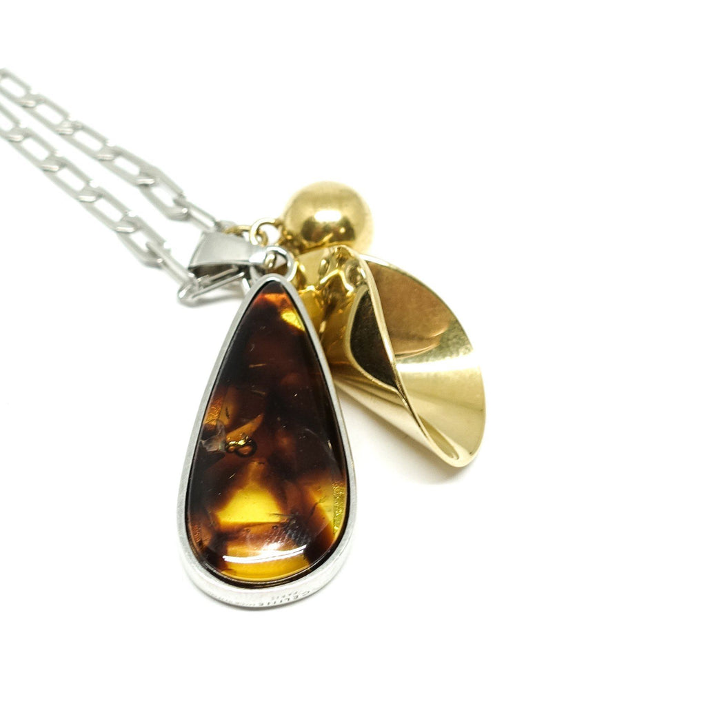Celine Amber Drop Pendant Necklace In Brass - Necklaces