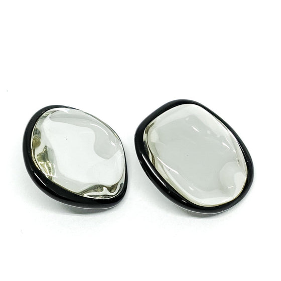 Celine Pebbles Earrings in Black Painted Brass with Honey Resin Mirror Earrings Celine