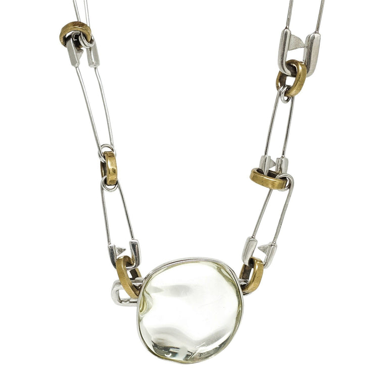 Celine Pebbles Necklace In Brass With Honey Resin Mirror - Necklaces
