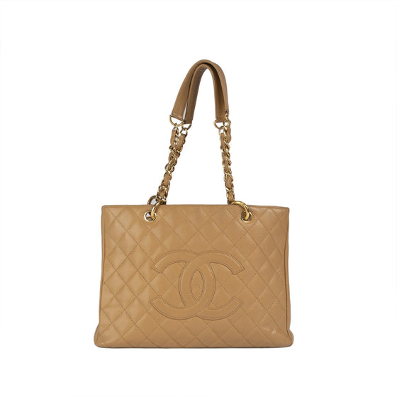 Chanel Beige Caviar Leather Grand Shopping Tote (GST) Bags Chanel