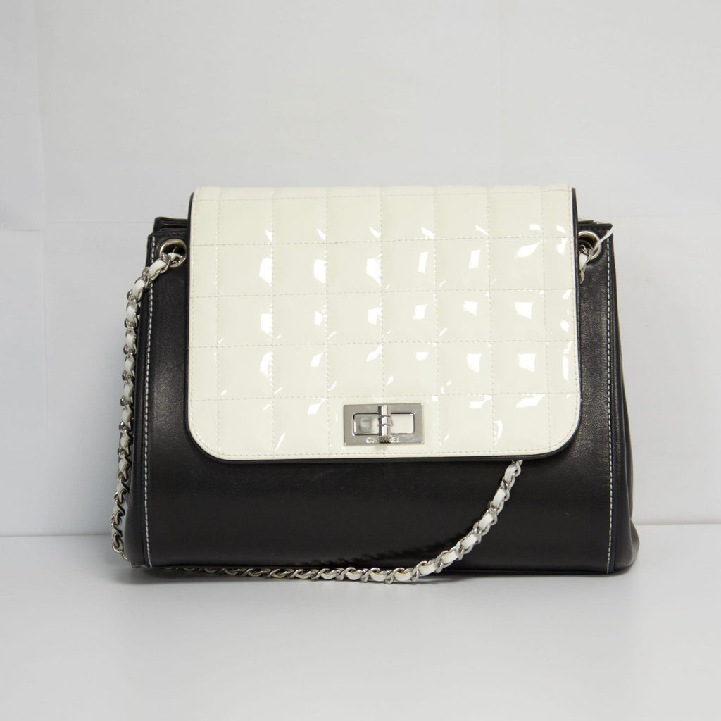 Chanel Black and White Chocolate Bar Bag Bags Chanel