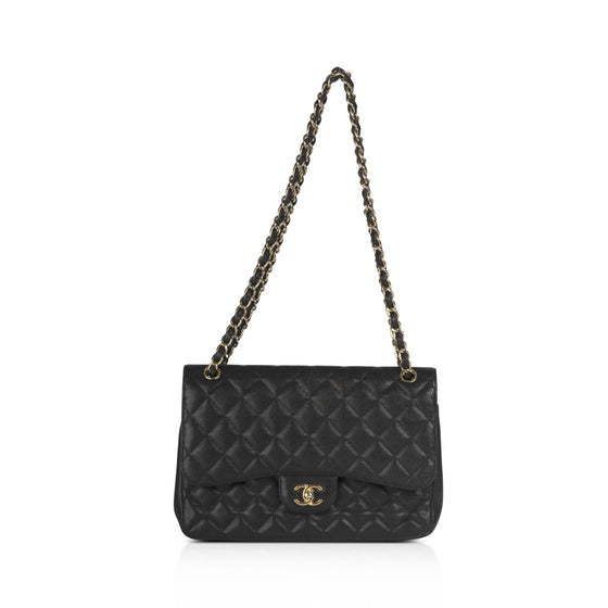 Chanel Black Caviar Classic Jumbo Double Flap Bag w/ Authenticity Card Bags Chanel