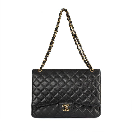 Chanel Black Caviar Classic Maxi Double Flap Bag Bags Chanel