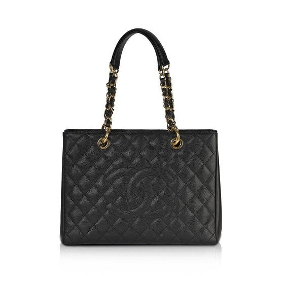 Chanel Black Caviar Leather Grand Shopping Tote (GST) Bags Chanel