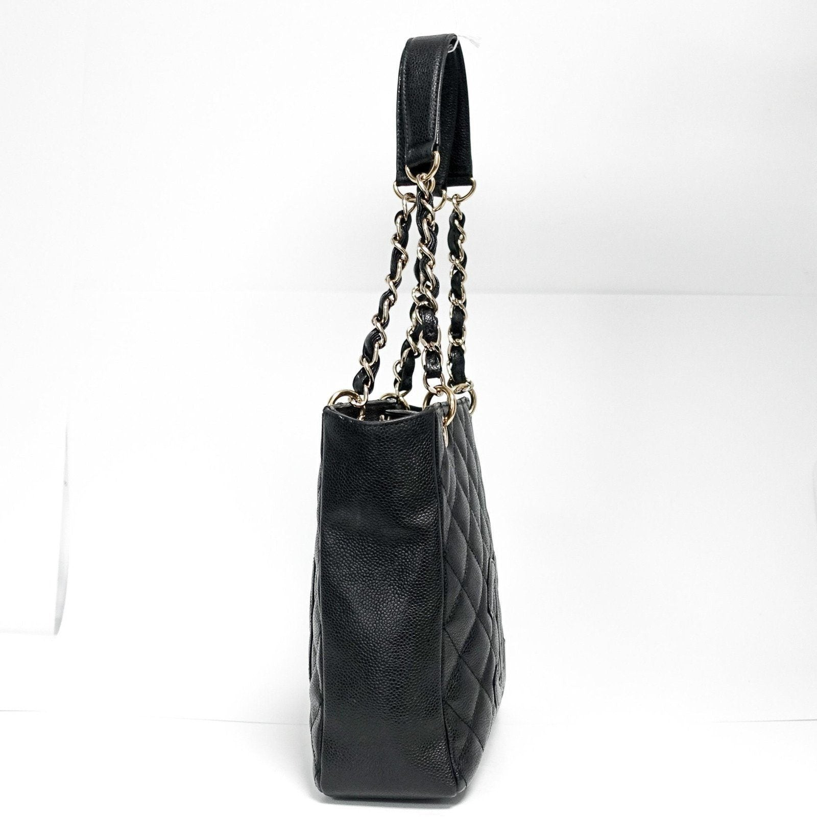 546d10fec ... Chanel Black Caviar Leather Petite Shopping Tote Bags Chanel ...