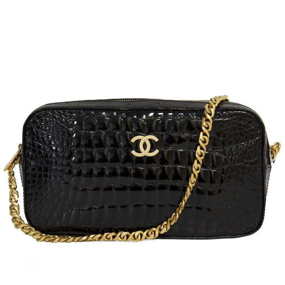 Chanel Black Crocodile Camera Bag with Brushed Gold Hardware Bags Chanel