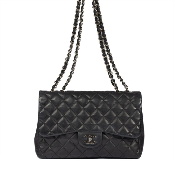 Chanel Black Lambskin Classic Jumbo Single Flap Bag Bags Chanel