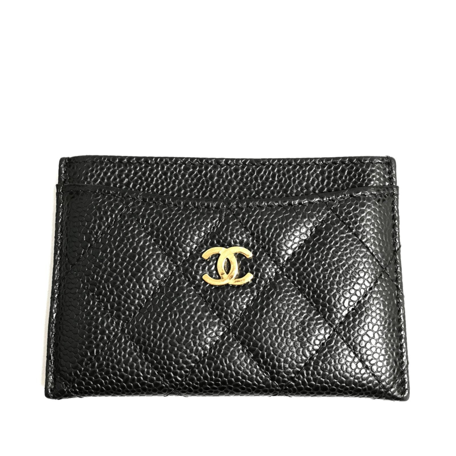 a1271490f0b67d Chanel Black Quilted Grained Calfskin Classic Card Holder Wallets Chanel ...