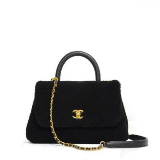 Chanel Black Shearling Top Handle Bag Bags Chanel