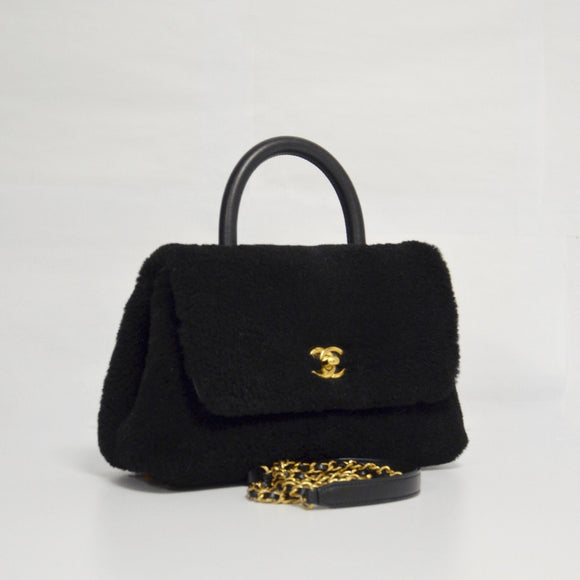 Chanel Black Shearling Top Handle Bag - Bags