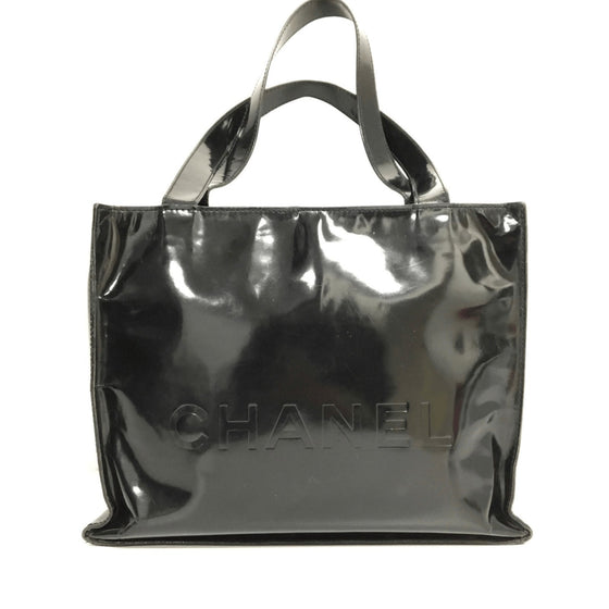 Chanel Black Vintage Vinyl Shopper Bag Bags Chanel