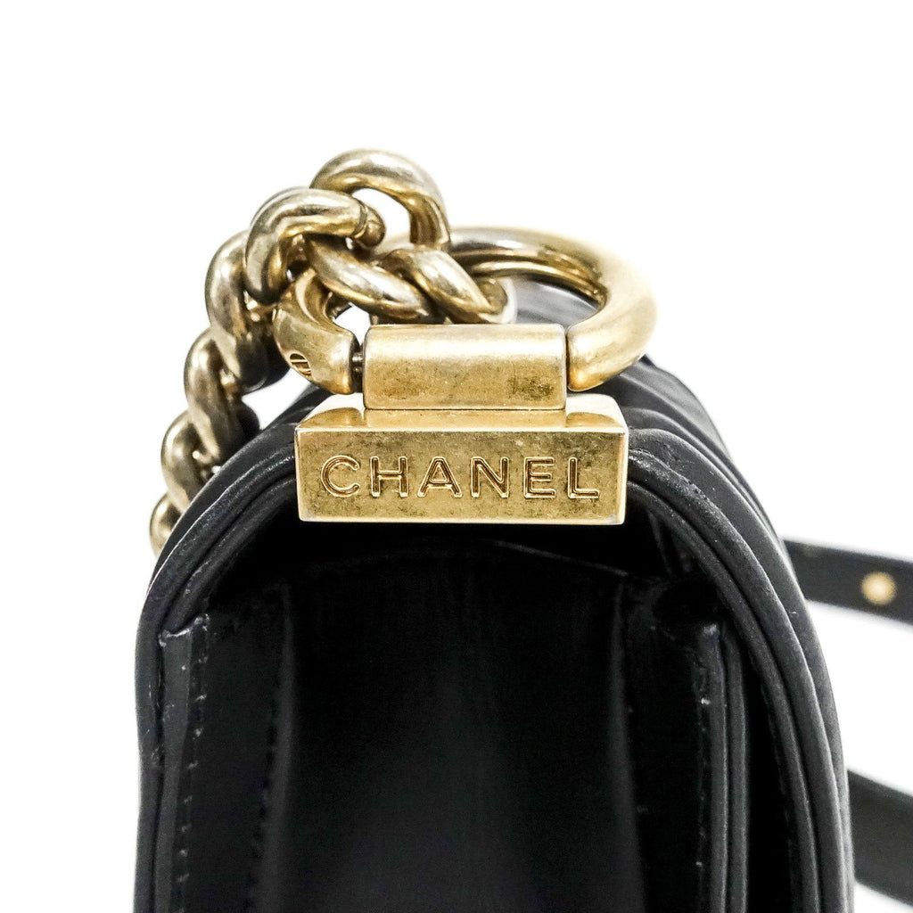 Chanel Black Woven Leather Chateau Boy Bag - Bags