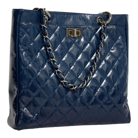 Chanel Blue Small Diamond Shine Reissue Tote - Bags