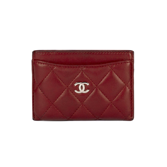 Chanel Burgundy Lambskin Classic Card Holder Wallets Chanel