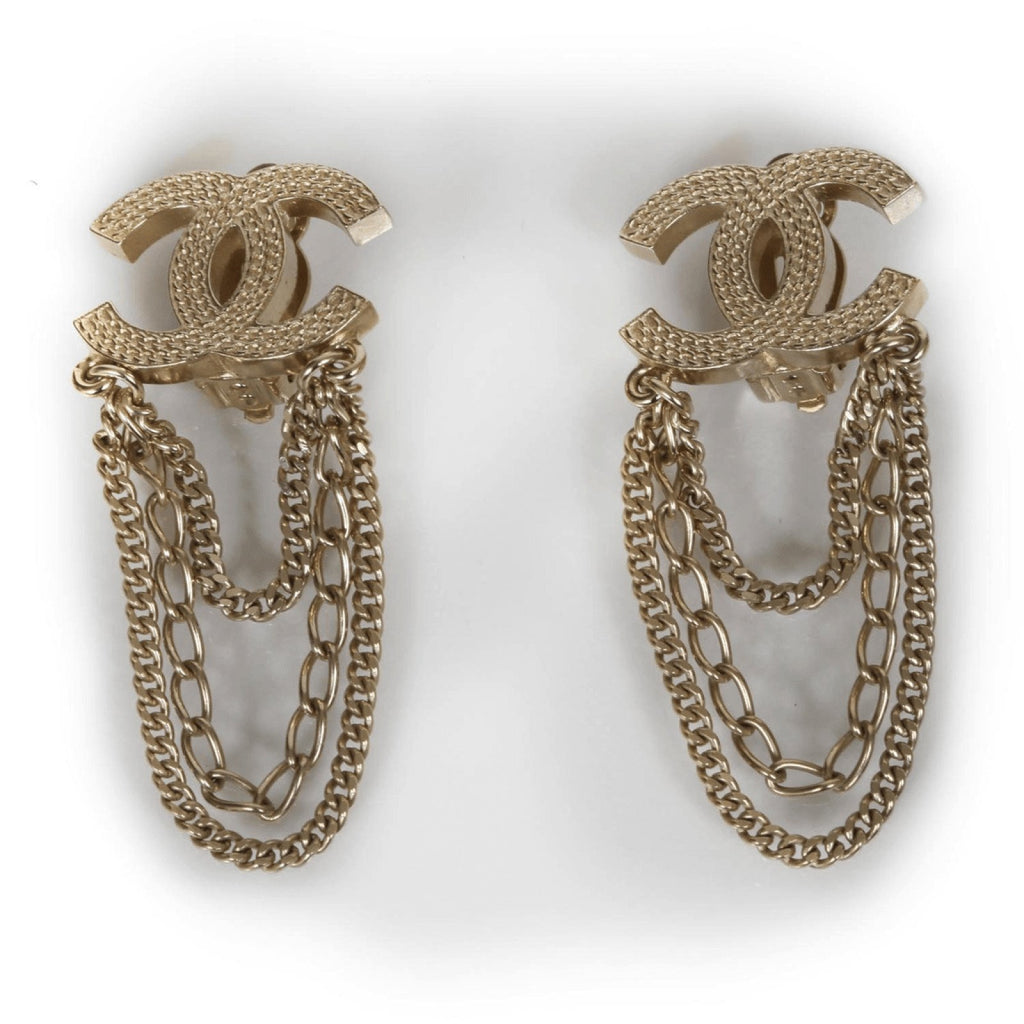 Chanel CC Triple Chain Earrings Earrings Chanel