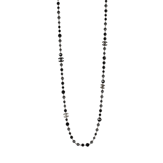 Chanel Faux Pearl & Resin CC Logo Station Necklace Necklaces Chanel