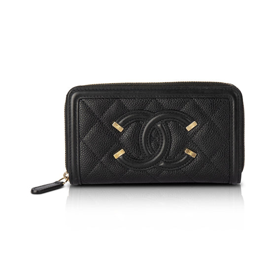Chanel Filigree Zip Wallet Wallets Chanel