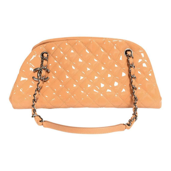 Chanel Orange Patent Just Mademoiselle Bowler Bag - Bags