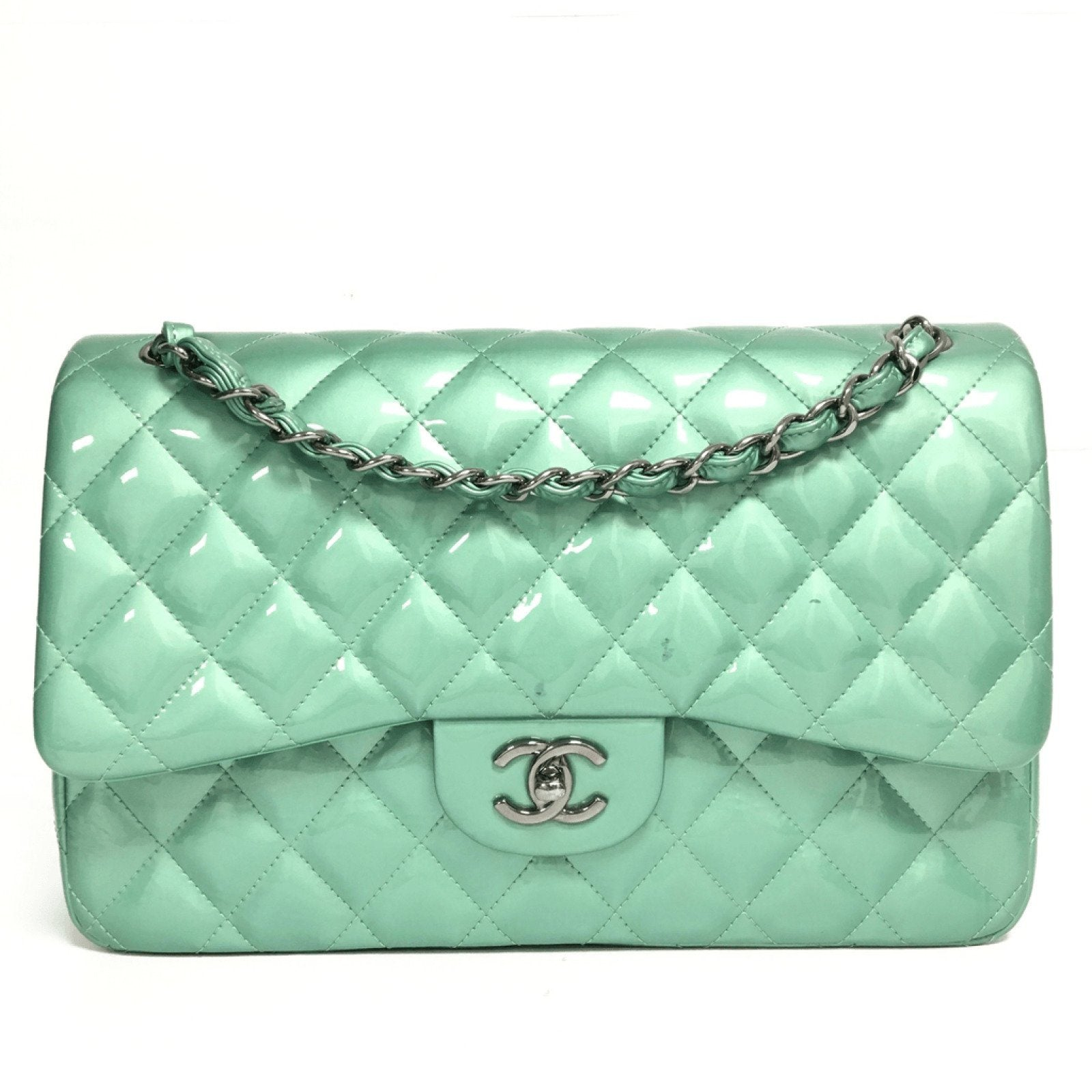 b52c62cfbe14 Chanel Patent Green Classic Jumbo Double Flap Bag– Oliver Jewellery