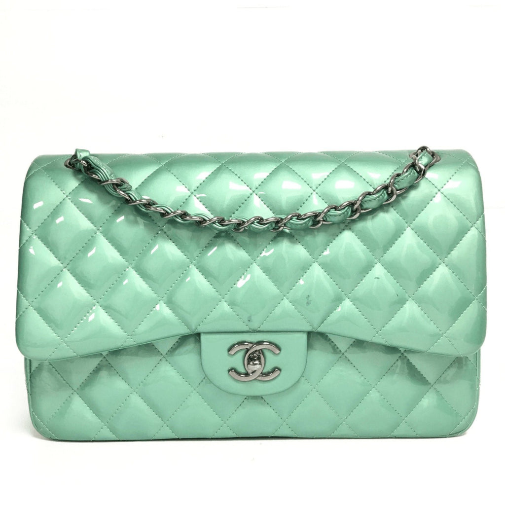 Chanel Patent Green Classic Jumbo Double Flap Bag - Bags