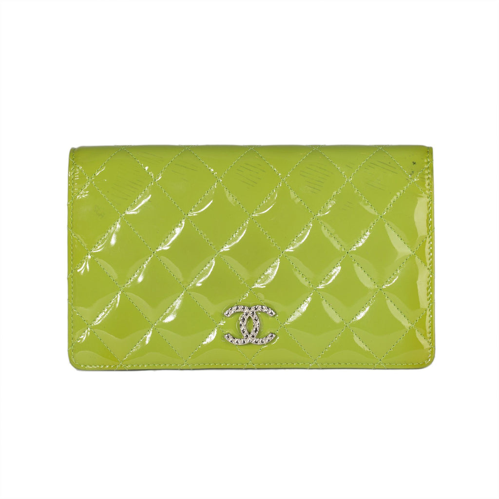 Chanel Patent Leather Quilted CC Yen Wallet Wallets Chanel
