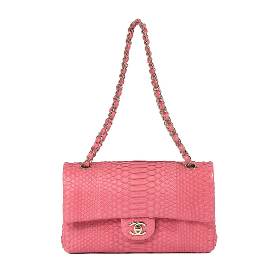 Chanel Pink Python Medium Classic Double Flap Bag Bags Chanel