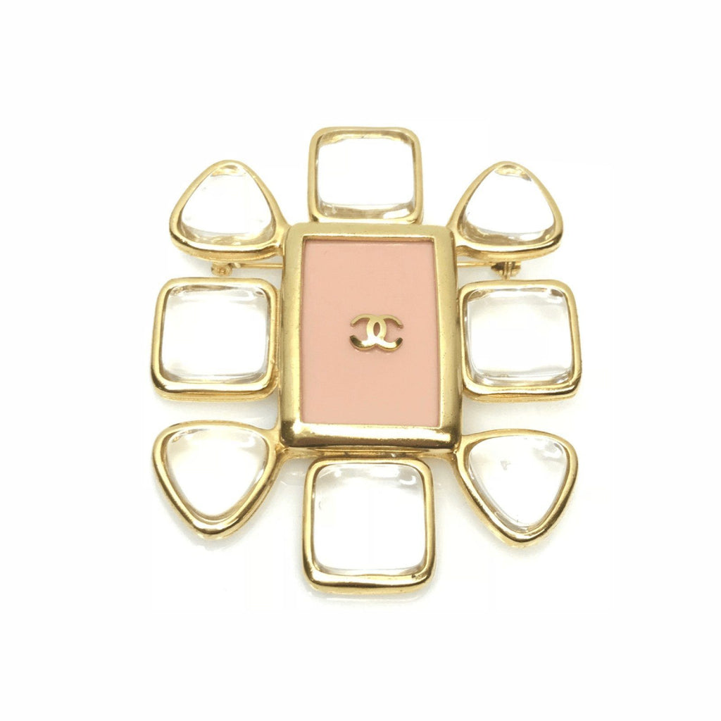 Chanel Pink Resin and Crystal Brooch Brooches & Pins Chanel