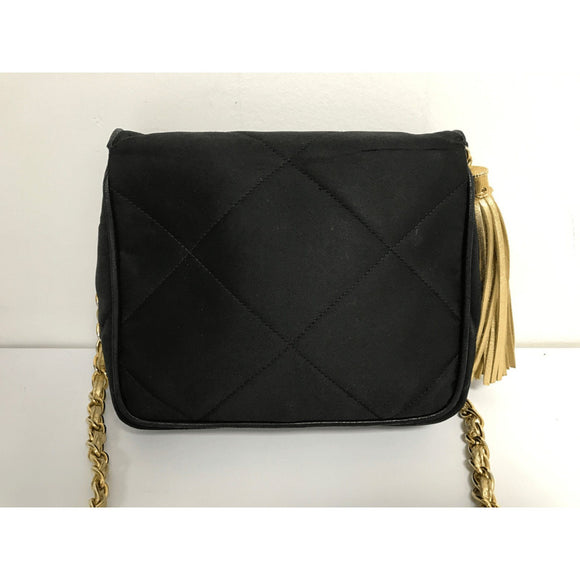 Chanel Satin Black And Gold Tassel Evening Bag - Bags