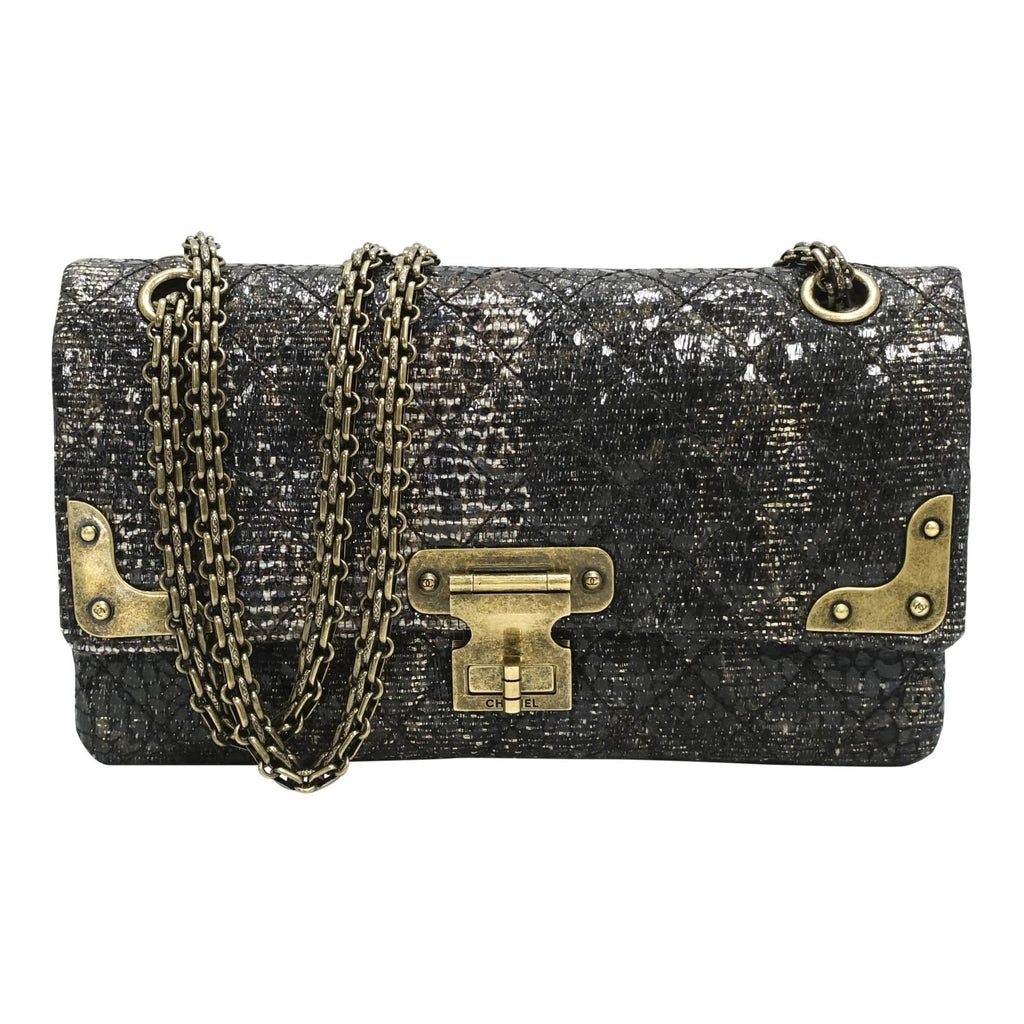 Chanel Special Edition Gray Coated Lacquered Tweed Crossbody Bag