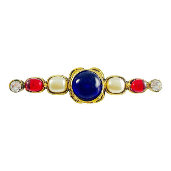 Chanel Vingate 1985 MultiColour Crystal Bar Brooch Brooches & Pins Chanel