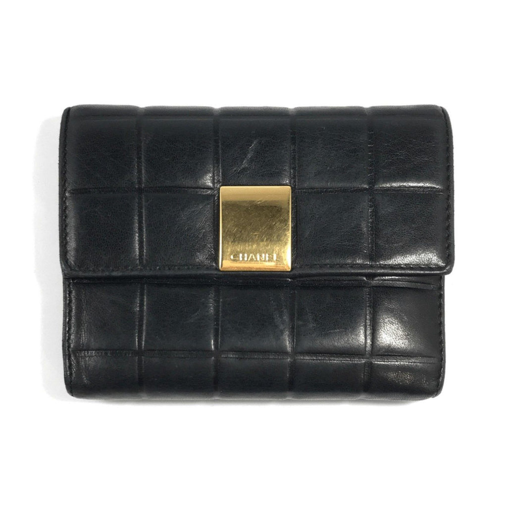 Chanel Vintage Black Chocolate Bar Wallet Wallets Chanel