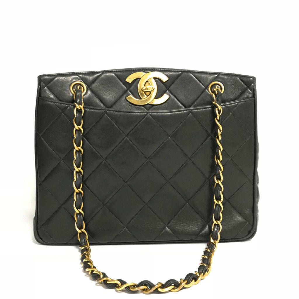 Chanel Vintage Black Quilted Lambskin Leather Tote Shoulder Bag - Bags