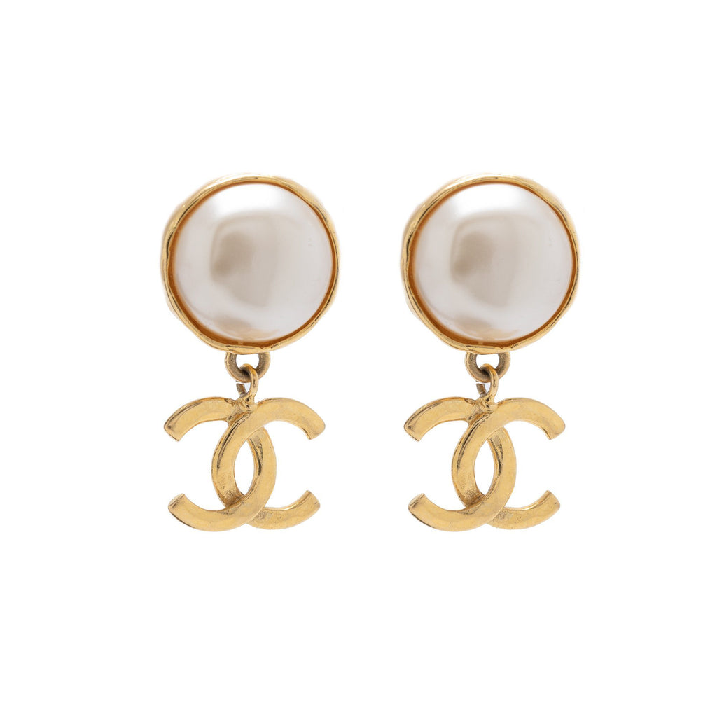Chanel Vintage Faux Pearl CC Drop Clip-On Earrings Earrings Chanel