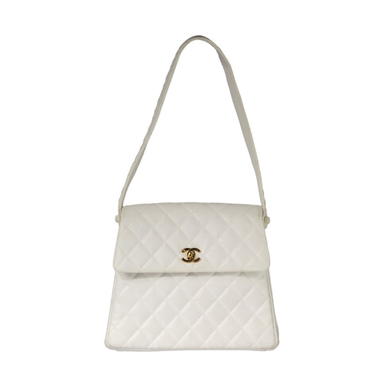 Chanel Vintage Small Quilted Caviar CC Flap Shoulder Bag Bags Chanel