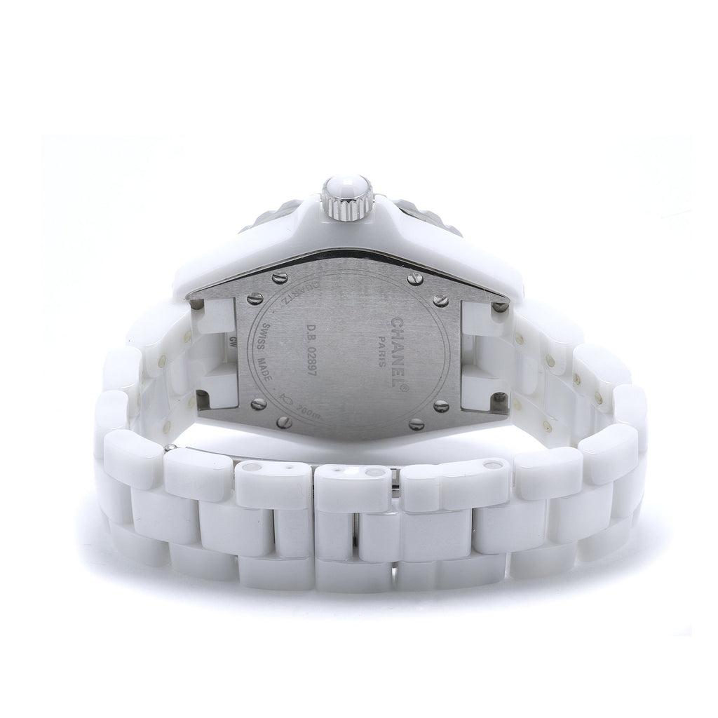 Chanel White Ceramic J12 Watch w/ Black Diamond Bezel Watches Chanel