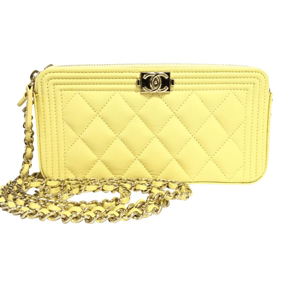 8354c040feb0 Chanel Yellow Double Zip Boy Clutch with Chain– Oliver Jewellery