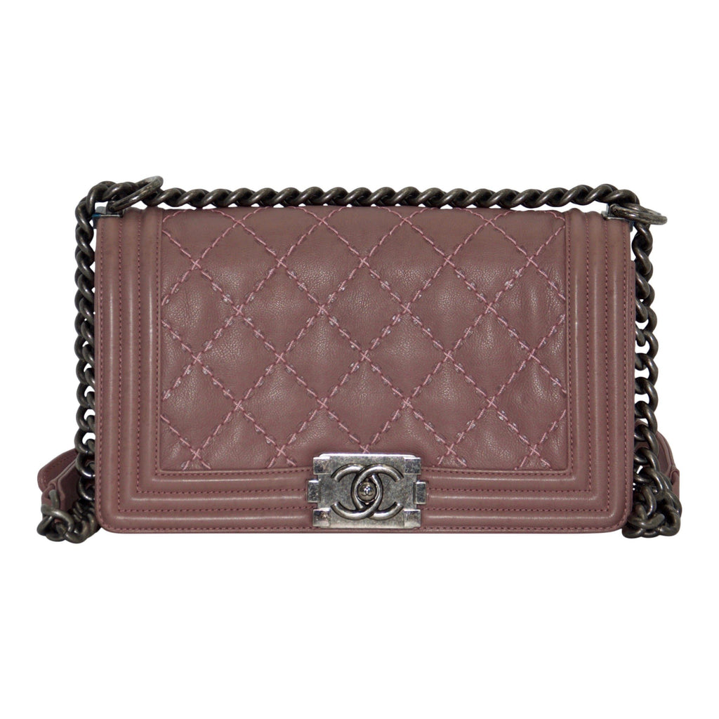 Chanel Medium Pink Double Stitch Boy Bag Bags Chanel