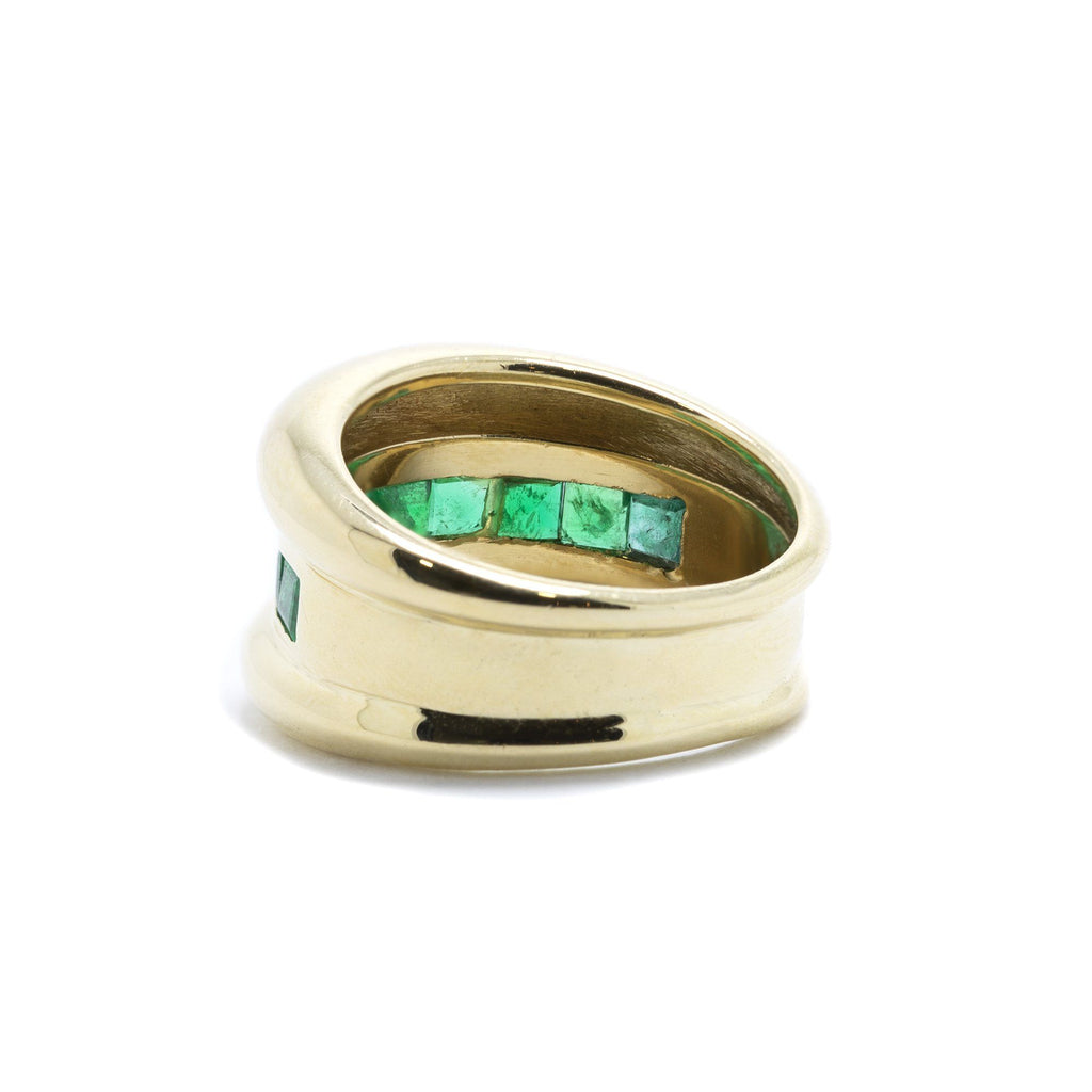 Channel-Set Single Row Emerald Band Ring Rings Miscellaneous