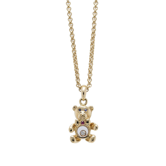 Chopard 18k Gold Happy Diamonds Teddy Bear Pendant Necklace Necklaces Chopard