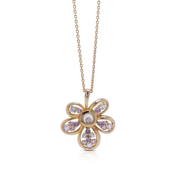Chopard 18k Rose Gold Happy Diamonds Joaillerie Pendant Necklace w/ Box Necklaces Chopard