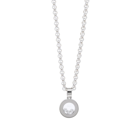 Chopard 18k White Gold Happy Diamond Round Pendant Necklace Necklaces Chopard