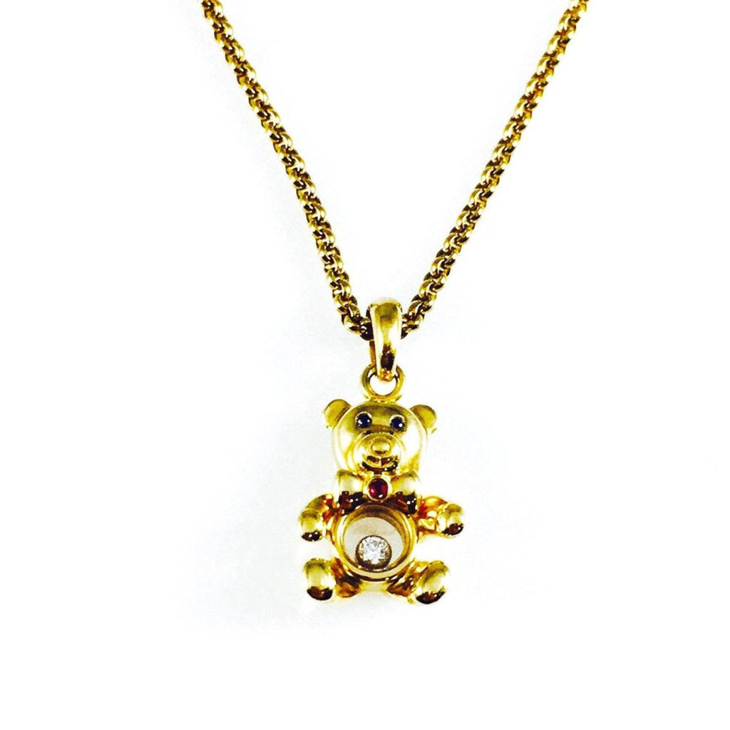 Chopard Floating Diamond Teddy Bear Pendant Necklace Necklaces Chopard
