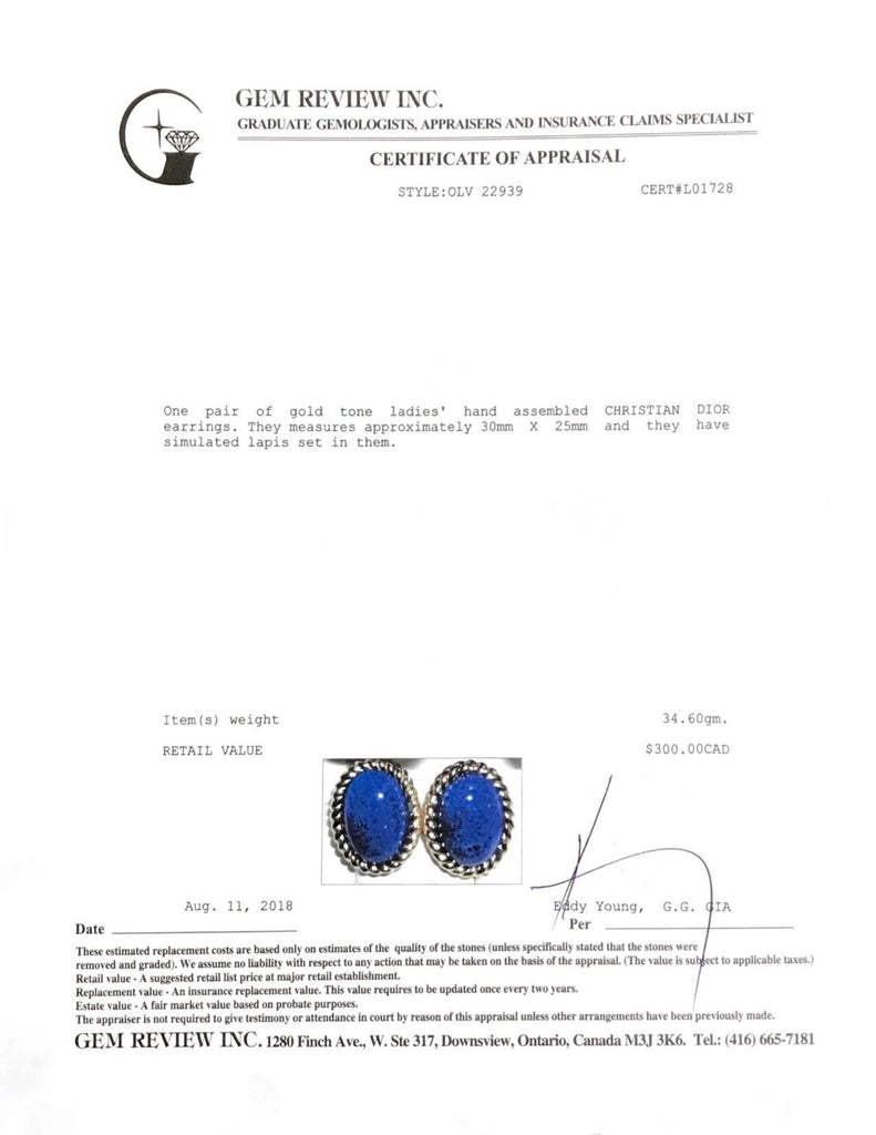 Christian Dior Cabachon Lapis Earrings Earrings Dior