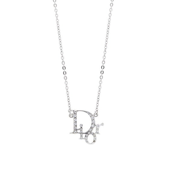 Christian Dior Crystal Oblique Pendant Necklace Necklaces Dior