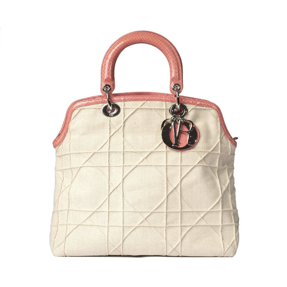 Christian Dior Limited Edition Canvas and Python Granville Bag Bags Dior